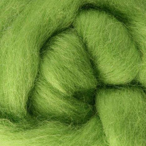 green wool roving, chartreuse wool roving, green needle felting wool