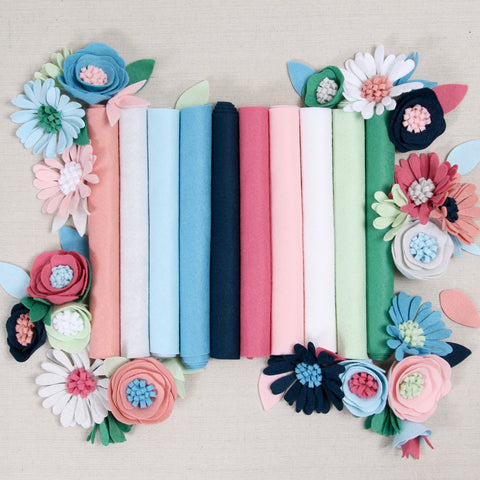 wool blend felt sheets, colorful wool blend felt, felt flowers