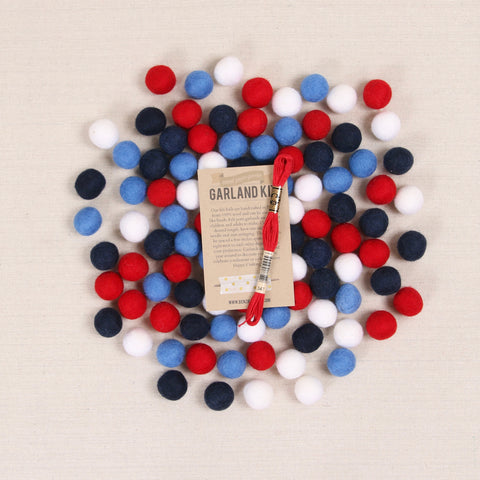 Red White + Blue PomPom Palette