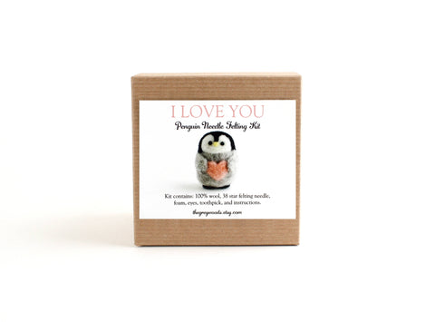 Needle Felting Kit, Heart Penguin