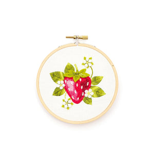 Strawberry Blossoms Embroidery Pattern
