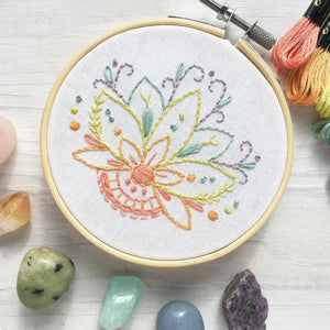 Mini Lotus Flower Hand Embroidery Sampler, printed fabric