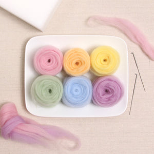 Pastel Colors Wool Roving