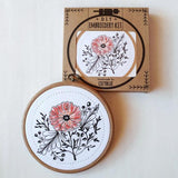 poppy power embroidery kit, poppy flowers embroidery