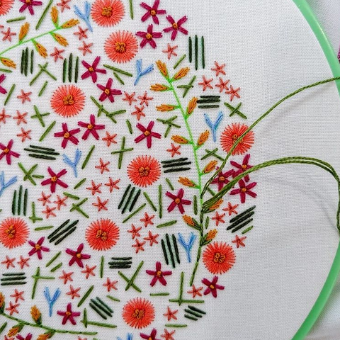 wildflower embroidery kit, embroidered wildflower design