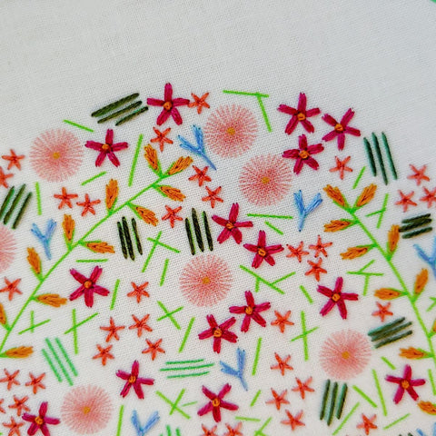wildflower embroidery kit, abstract wildflower design