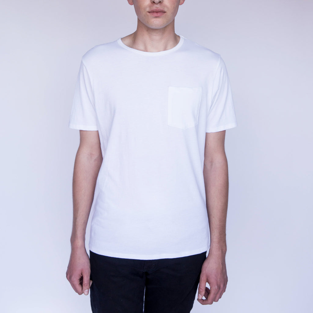 Crew Neck w Pocket - White