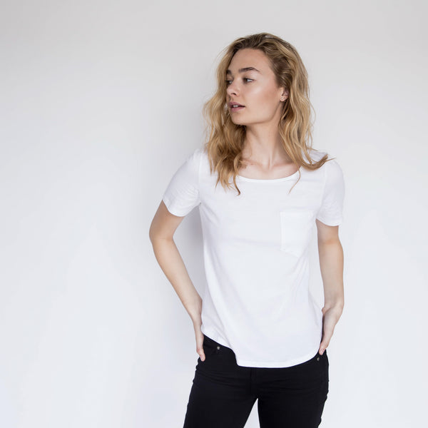 U-Neck Pocket Tee - White