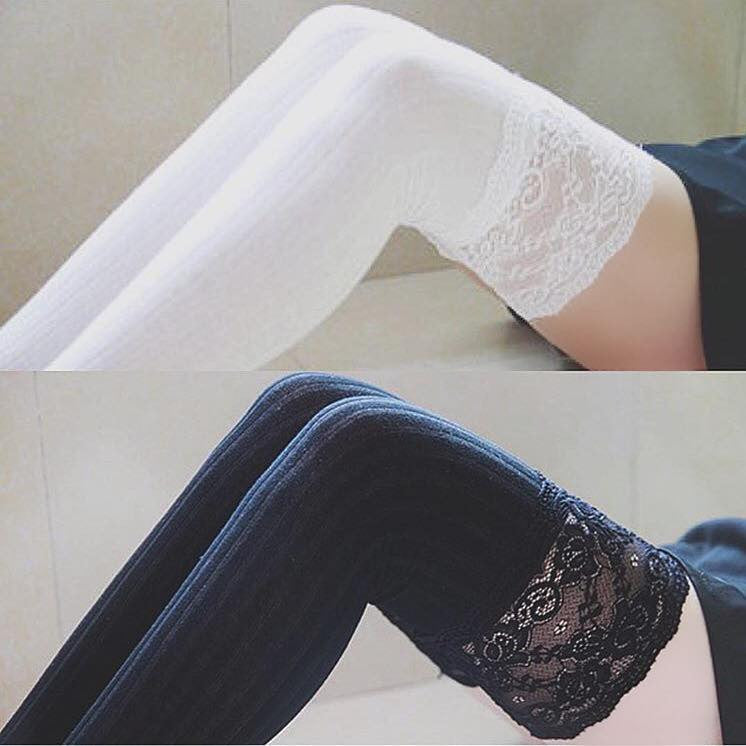 DELILAH LACE THIGH HIGH SOCKS (BLACK)