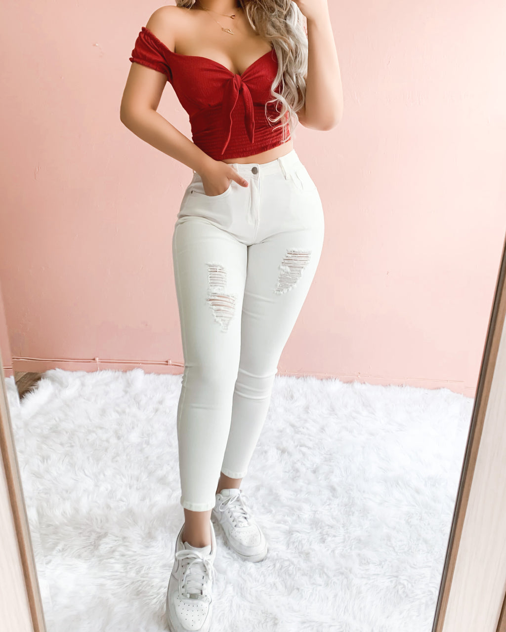RESTOCKED! LEXY DISTRESSED HIGH WAISTED SKINNY JEANS (WHITE)