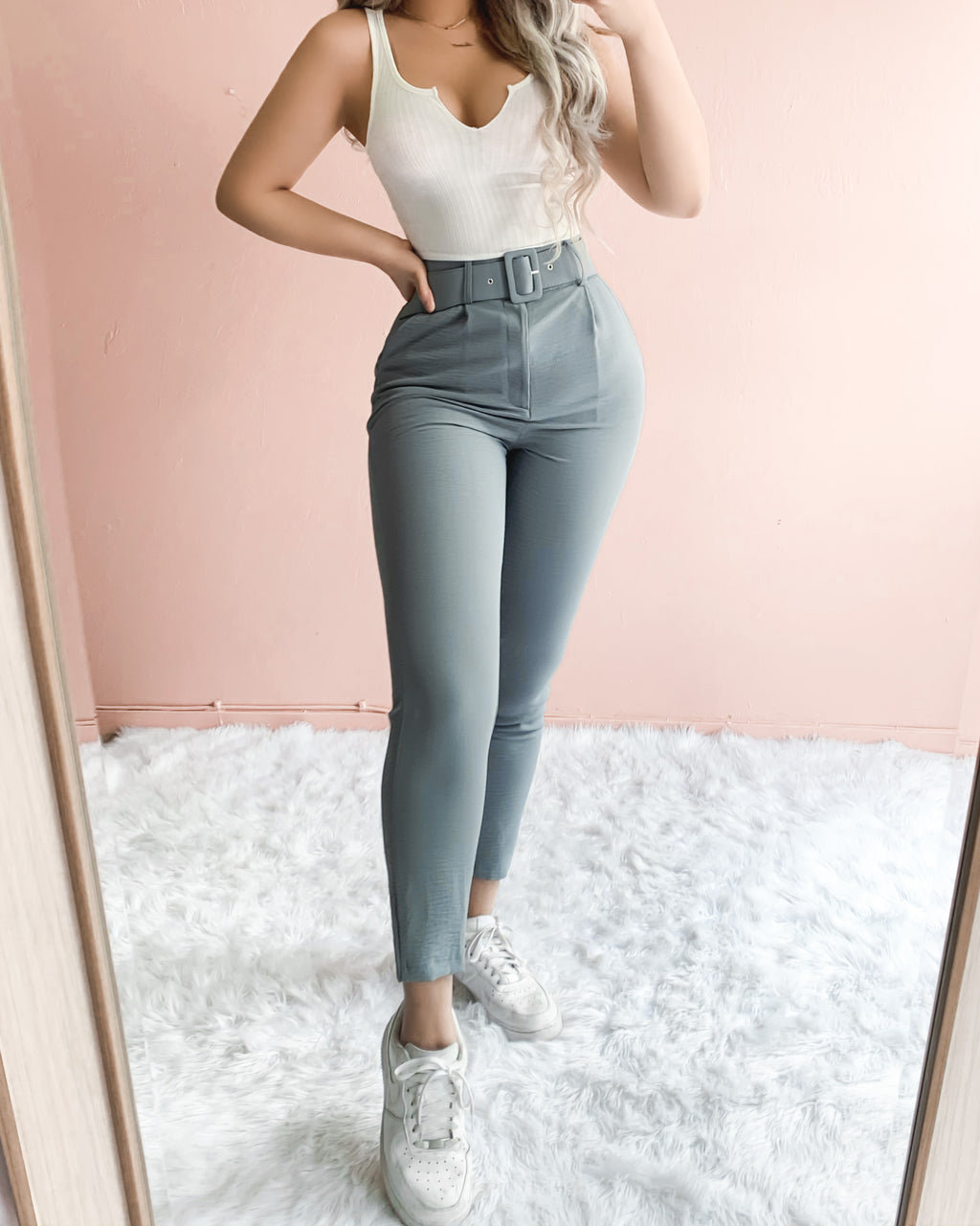 BACK TO BUSINESS BELTED PANTS (DUSTY BLUE)