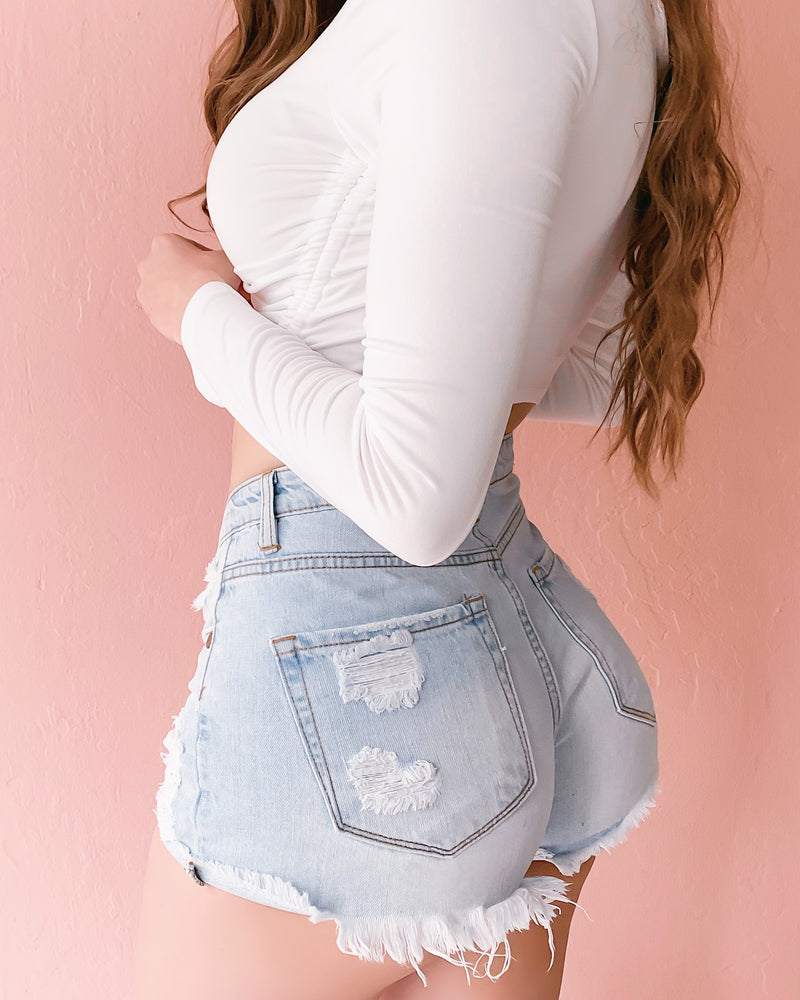 RESTOCKED! SUMMER DREAMS DISTRESSED HIGH WAISTED SHORTS