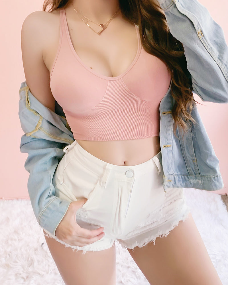 BRUNCH NECESSITIES RIBBED TOP 2.0 (BLUSH)
