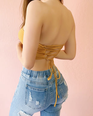 LAST STOCK!! FINE WITHOUT YOU STRAPPY BACK TOP (MUSTARD)