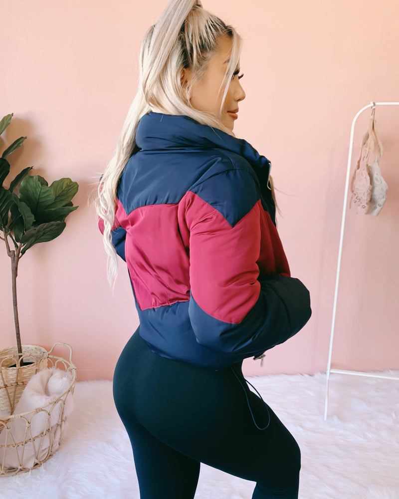 RESTOCKED! ON THE GO PUFFER JACKET (NAVY/WINE)