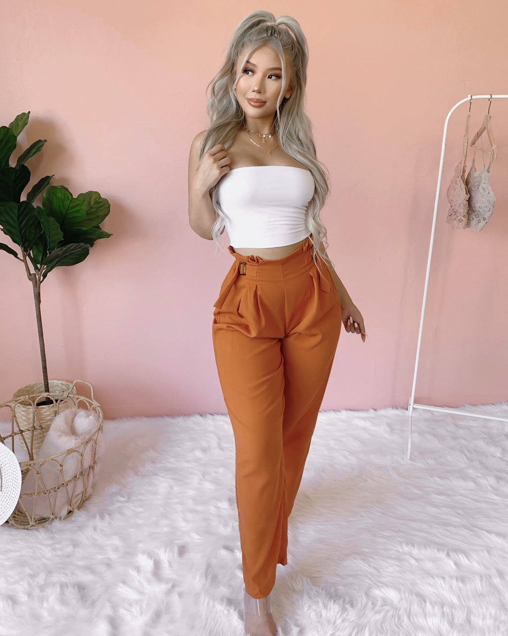 ESTELLA PAPERBAG WIDE LEG PANTS (RUST)