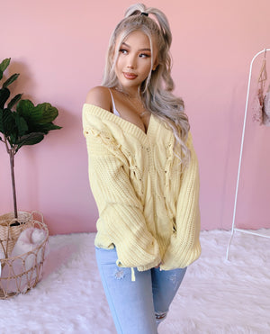 ADDISON CABLE KNIT SWEATER (BBY YELLOW)