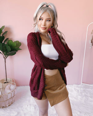 RESTOCKED! KEEP ME COZY CABLE KNIT SWEATER CARDIGAN (IVORY)