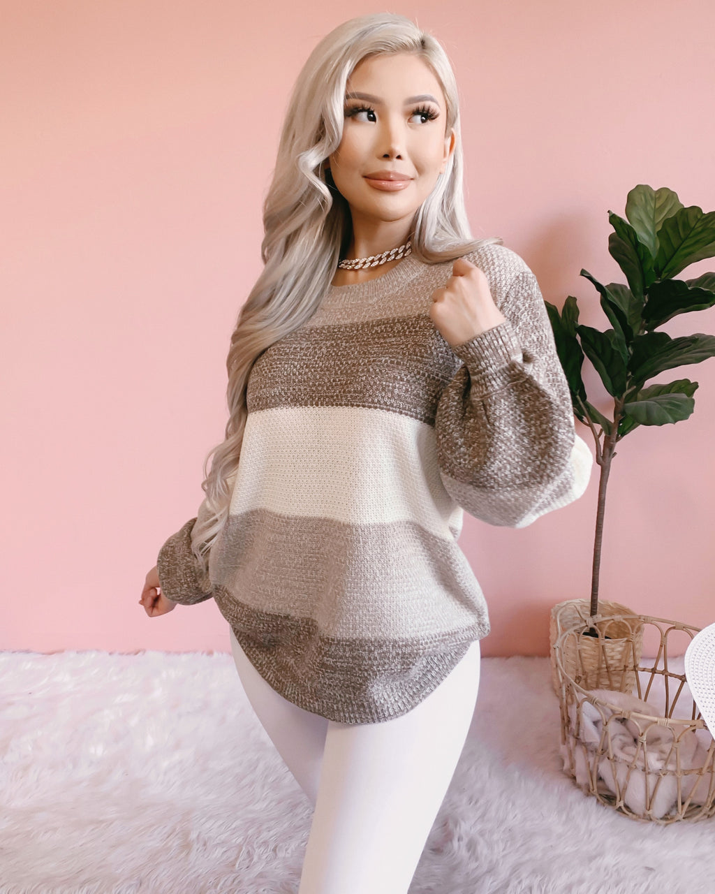 BLURRED LINES OVERSIZED KNIT SWEATER (MOCHA)