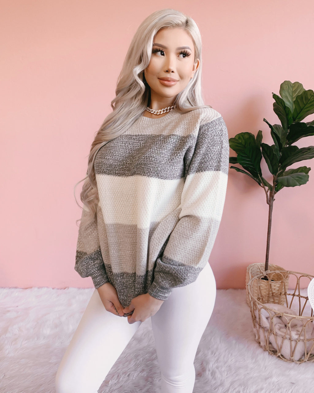 BLURRED LINES OVERSIZED KNIT SWEATER (GREY)