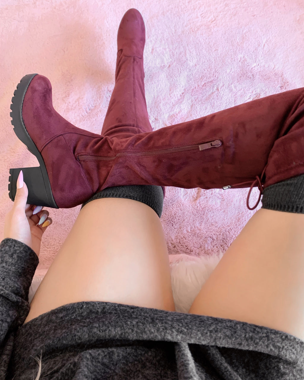 DANI THIGH HIGH BOOTIE (WINE)