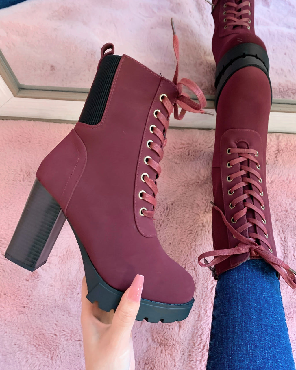 ALEX LACE UP BOOT (BURGUNDY)