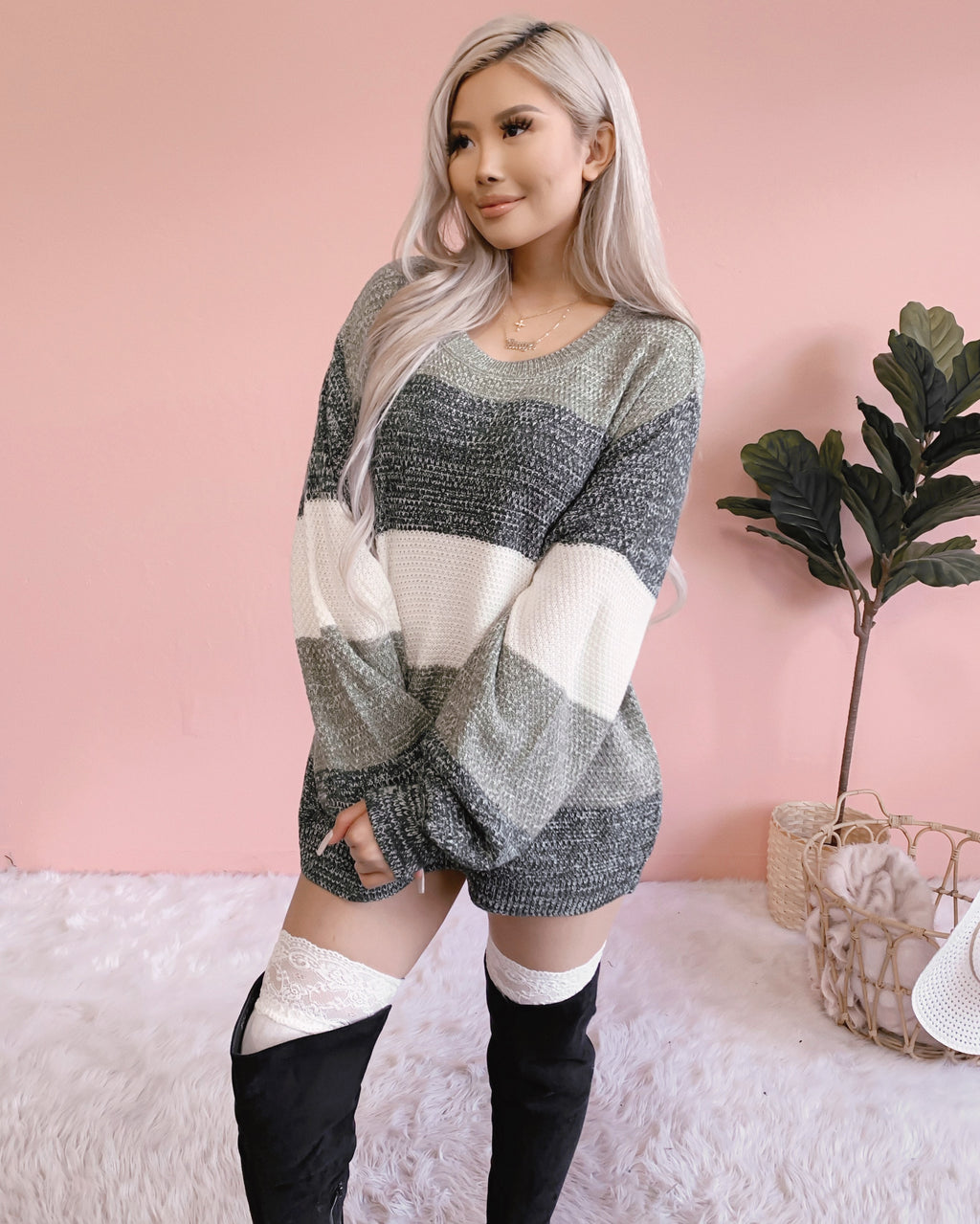 BLURRED LINES OVERSIZED KNIT SWEATER (FOREST)