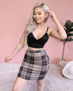 RESTOCKED! TAKE NOTE PLAID SKIRT (TAUPE)