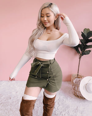 DEMI WRAPPED SKIRT (OLIVE)