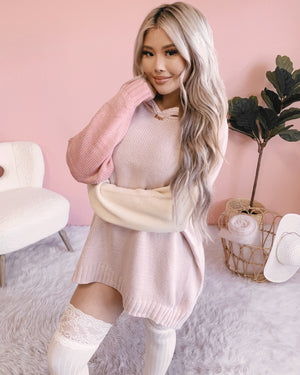 PRETTY IN PINK HOODIE SWEATER DRESS