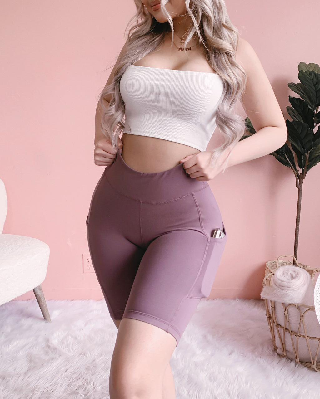 LEVEL UP HIGH RISE BIKER SHORTS W/ POCKETS!! (DEEP MAUVE)