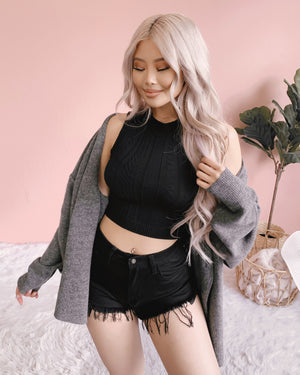 DON'T HOLD BACK OVERSIZED SWEATER CARDIGAN (CHARCOAL)