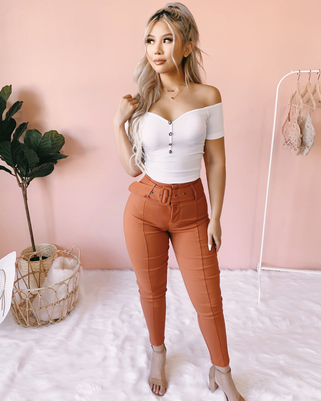 LAST STOCK! WORTH THE WAIT BELTED PANTS (RUST)