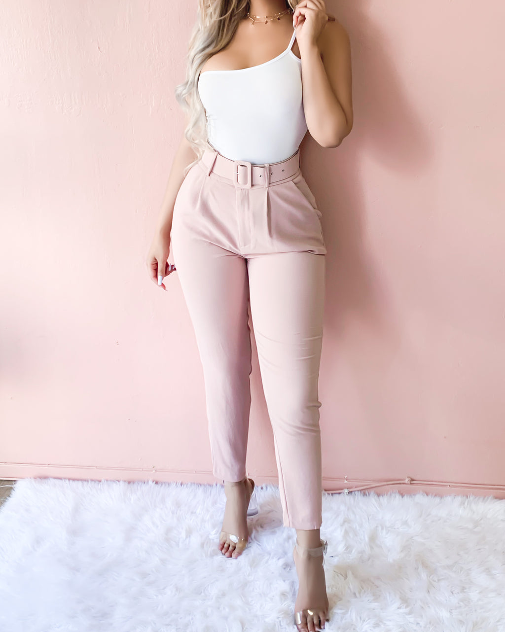 BACK TO BUSINESS BELTED PANTS (BLUSH PINK)