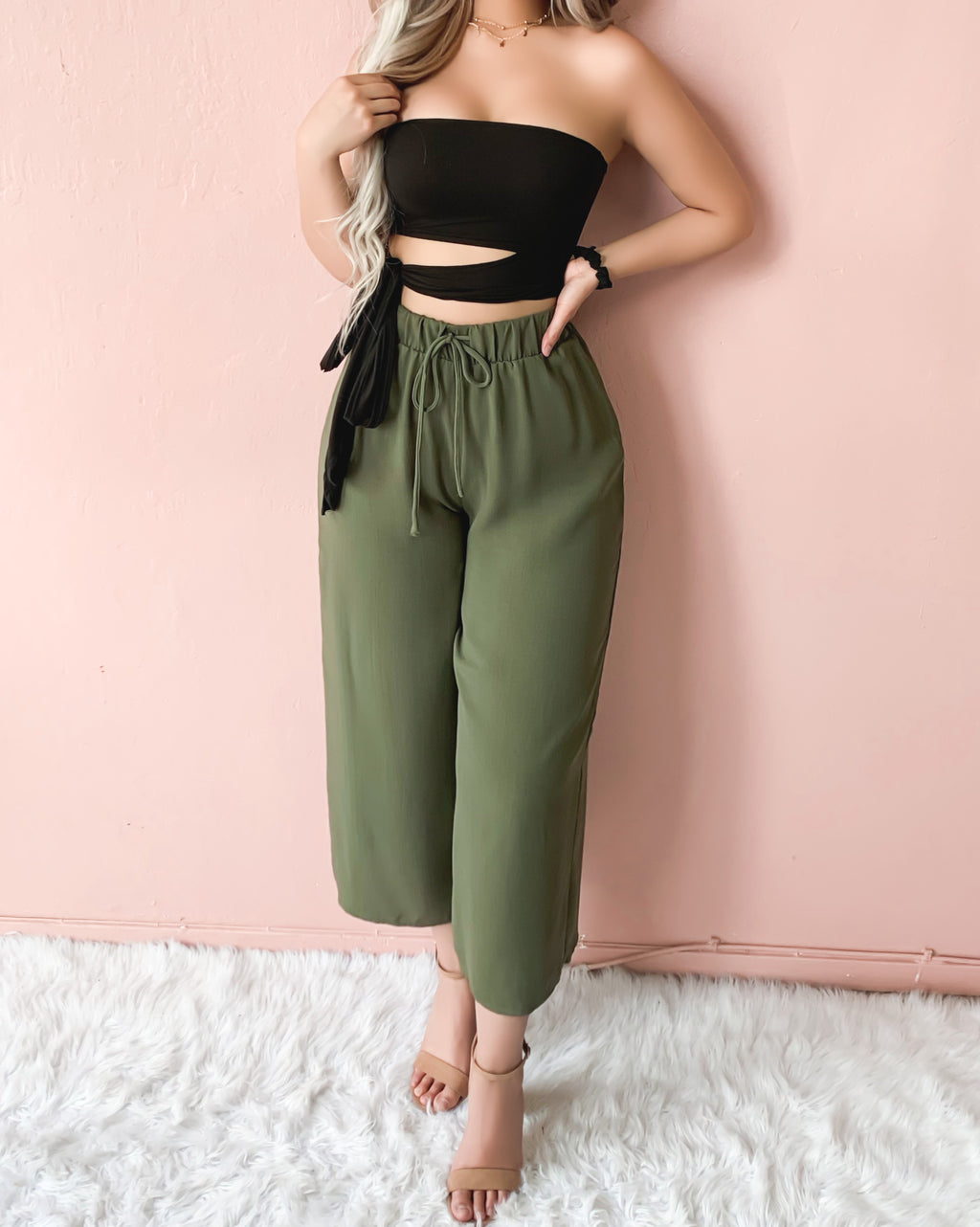 SUNSET LOVER FLOWY PANTS (OLIVE)