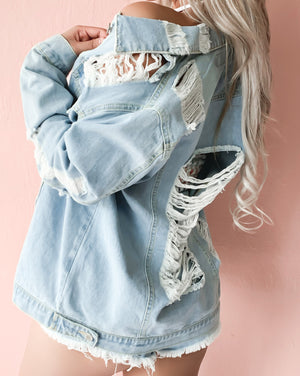 MADE FOR THIS OVERSIZED DISTRESSED DENIM JACKET (LIGHT WASH)