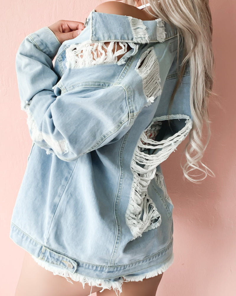 MADE FOR THIS OVERSIZED DISTRESSED DENIM JACKET (DARK WASH)