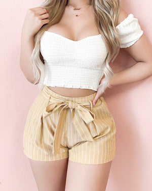 RESTOCKED! LANA STRIPED PAPERBAG SHORTS (WHITE)