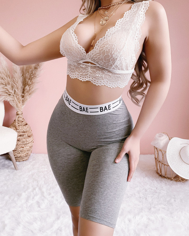 RESTOCKED! BAE & CHILL BIKER SHORTS (GREY)