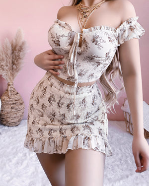 RESTOCKED! MIXED FEELINGS FLORAL SET (IVORY)