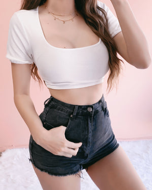 MILA DISTRESSED HIGH WAISTED SHORTS (FADED BLACK)