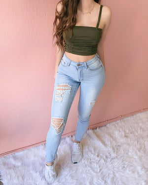 KYLIE DISTRESSED HIGH WAISTED JEANS