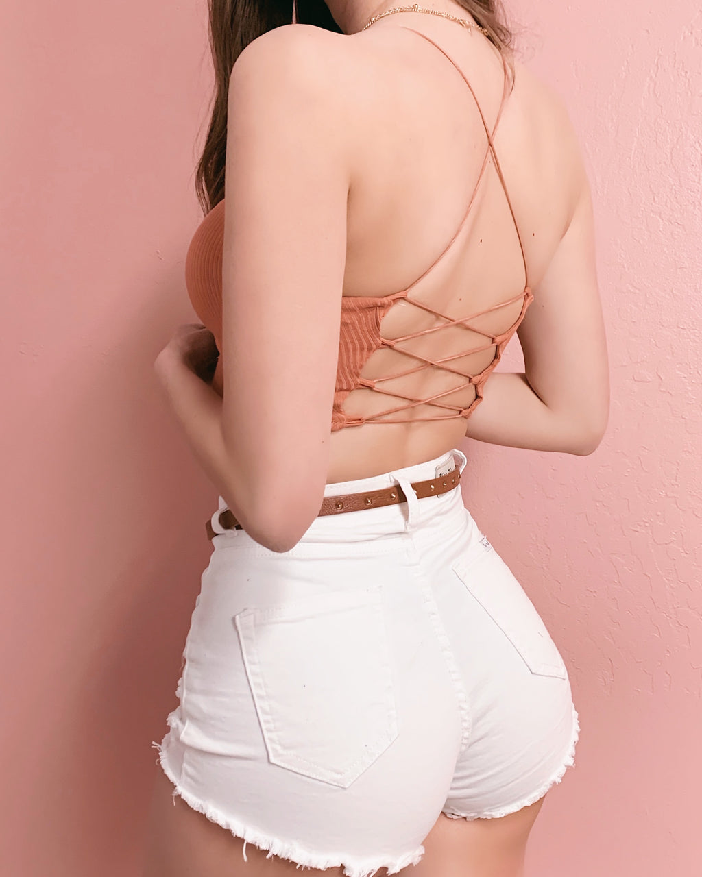 NEW COLOR! HOLD ME FROM BEHIND STRAPPY BACK TOP (PEACH)