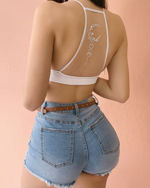 "RESTOCKED! NO COMMITMENT BACK ""TATTOO"" BRALETTE (ROSE/BLACK)"