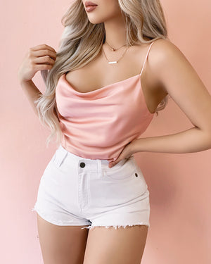 RESTOCKED! SHOOT YOUR SHOT OPEN BACK SATIN TOP (BLUSH)
