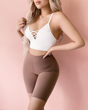 RESTOCKED! NO BETTER HIGH WAIST BIKER SHORTS (NUDE)