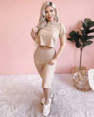 RESTOCKED! SPORTY CHIC 2 PIECE SET (LATTE)