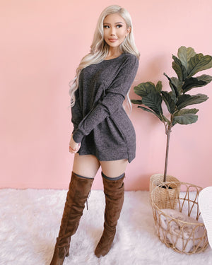 RISKY BUSINESS OVERSIZED SWEATER/DRESS (CHARCOAL)