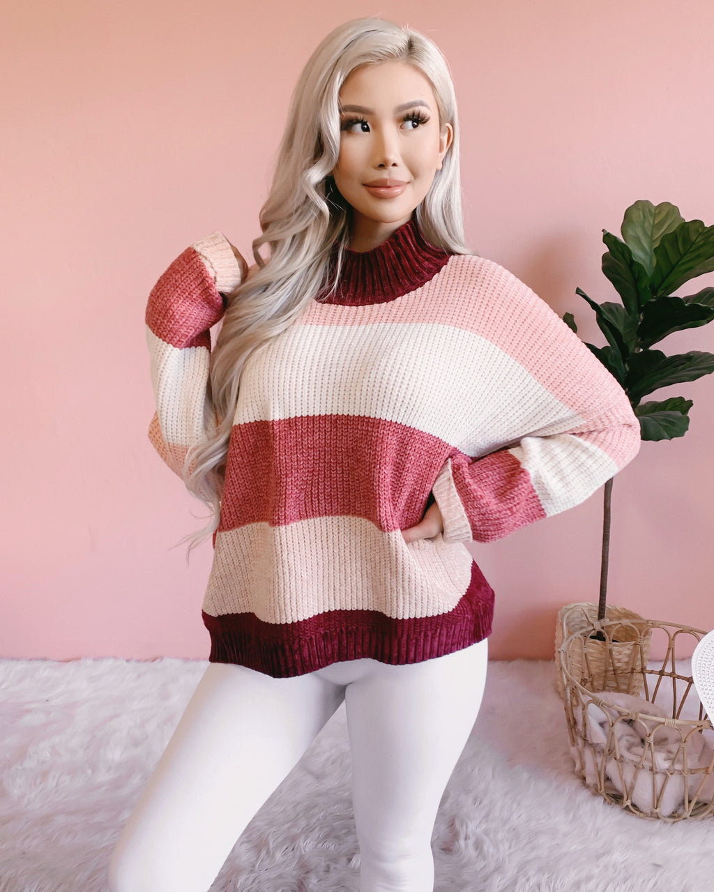 CASSIDY STRIPED SWEATER (MAUVE)
