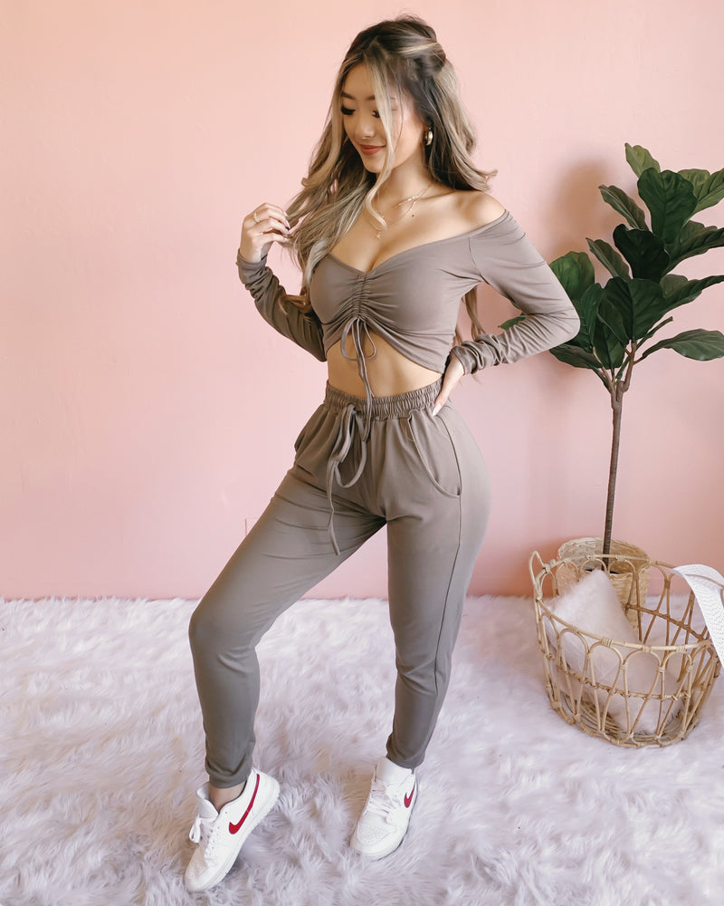 RESTOCKED! DOWN FOR YOU 2-PIECE SET (OLIVE)